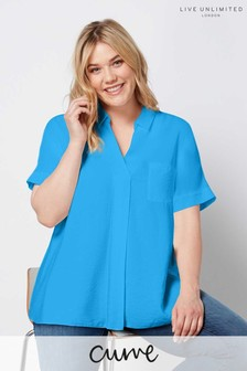 Live Unlimited Blue High Low Hem Luxe Fabric Blouse
