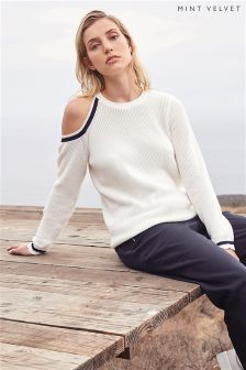 Mint Velvet Ivory Tipped Cold Shoulder Cut Out Knit