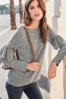 Cosy Ruffle Sleeve Sweater