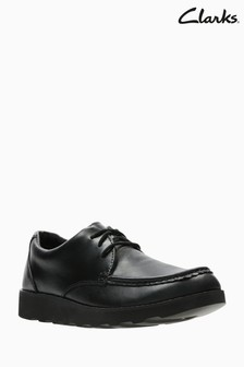 Clarks Youth Crown Tate Black Leather School Shoe