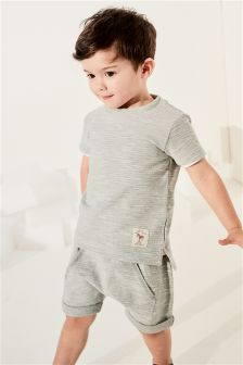 Textured Short Sleeve T-Shirt And Short Set (3mths-6yrs)