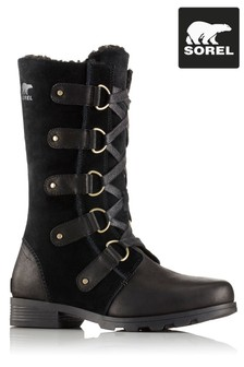 Sorel® Black Leather Emelie™ Lace-Up Boot