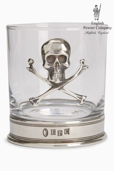 English Pewter Company 11oz Tumbler With Skull And Crossbones Emblem