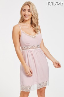 Figleaves Pink Mia Hidden Support Lace Panel Jersey Chemise