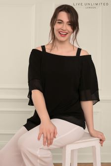 Live Unlimited Black Bardot Top with Chiffon Hem