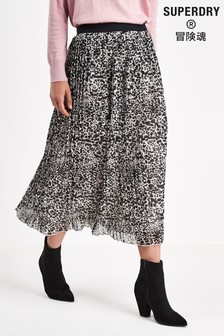Superdry Leopard Pleated Skirt