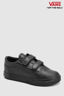 Vans Black Leather Old Skool Velcro