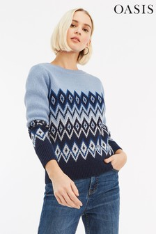 Oasis Blue Esme Fairisle Stripe Jumper