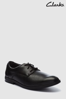 Clarks Youth Black Leather Rufus Edge Lace-Up Shoe