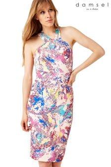Damsel Pink Audrina Splatter Print Scuba Dress