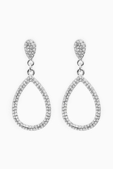 Jewelled Teardrop Drop Earrings