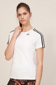 adidas White 3 Stripe Tee