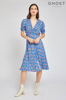 Ghost London Blue Sabrina Blue Pot Pourri Crepe Dress
