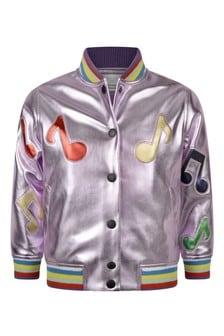 Girls Pink Alter Nappa Music Notes Jacket