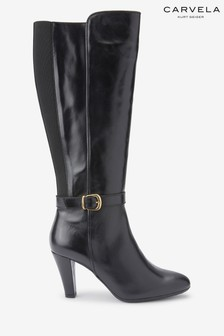 Carvela Comfort Black Villa Buckle Tall Boots
