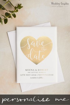 Personalised Save The Date Foiled Heart Magnet By Wedding Graphics