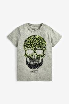 Leopard Print Infill Skull T-Shirt (3-16yrs)