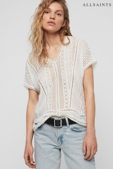 AllSaints White Lace Cindi Top