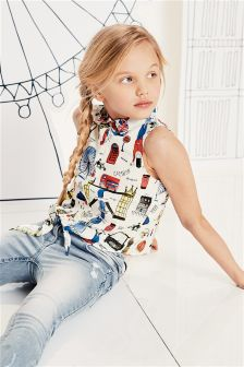 London Print Tie Front Blouse (3-16yrs)