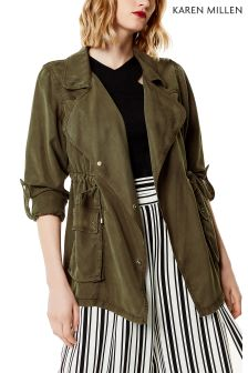Karen Millen Green Washed Khaki Military Jacket