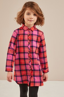 Check Longline Shirt Dress (3-16yrs)