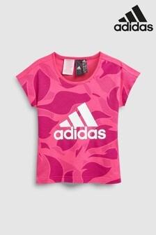 adidas Pink Printed Linear Tee