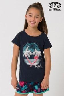 חולצת טי עם כיתוב שקיעה בחוף הים של Animal בכחול