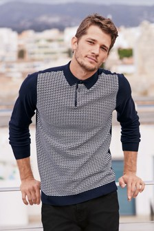 Weave Knitted Textured Polo