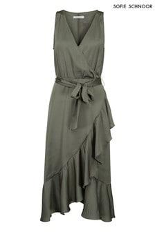 שמלת מעטפת עם מלמלה של Sofie Schnoor בצבע חאקי אלמוג