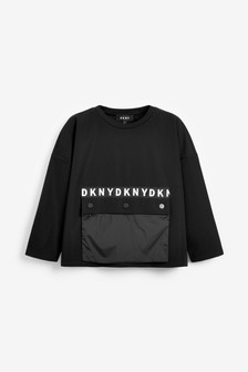 DKNY Black Pocket Long Sleeve T-Shirt