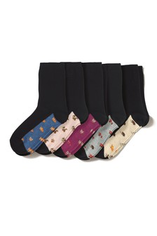 Autumnal Animals Footbed Ankle Socks Five Pack