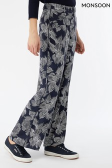 Monsoon Ladies Blue Chelsea Printed Wide Leg Trouser