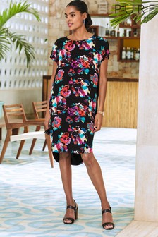 Pure Collection Black Silk Front Print Dress