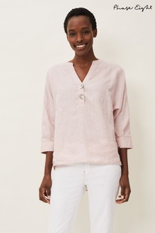 Phase Eight Pink Maryema Linen Blouse
