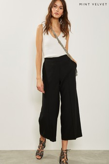 Mint Velvet Black Crepe Wide Crop Trouser