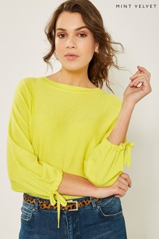 Mint Velvet Yellow Bow Cuff Batwing Top