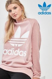 بلوزة واسعة ياقة مستديرة وردية من adidas Originals