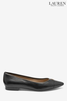 Ralph Lauren Black Leather Flat Pumps