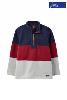 Joules Blue Dale Printed Half Zip Sweatshirt