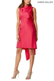 Karen Millen Pink Asymmetric Shift Dress With Train