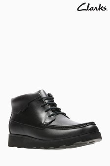 Clarks Youth Black Crown Blaze Lace-Up High Shoe