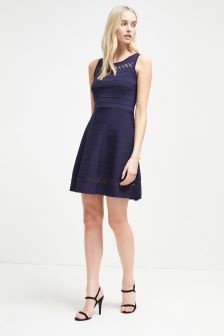 French Connection Duchess Blue Kai Crepe Fit Flare Dress