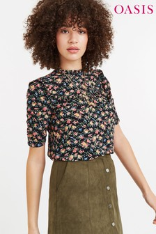 Oasis Black Crushed Ditsy Blouse