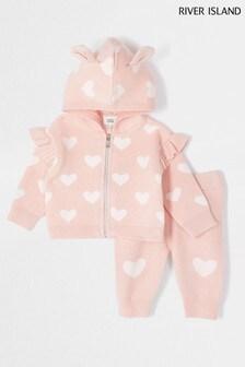 River Island Pink Heart Knit Cardigan Set
