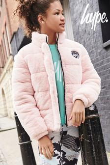 Hype. Pink Faux Fur Jacket