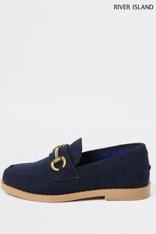 River Island Navy Snaffle Loafers