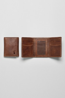 Leather Stag Detail Trifold Wallet