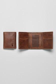 Dreiteilige Geldbörse mit Hirschdetail aus Leder