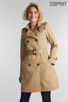 Esprit Cream Short Belted Woven Coat