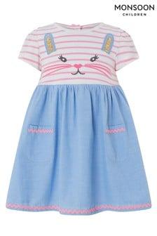 Monsoon Blue Baby Casey 2 In 1 Dress